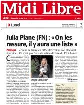 Julia Plane On les rassure, il y aura une liste - Midilibre 26 mai 2013