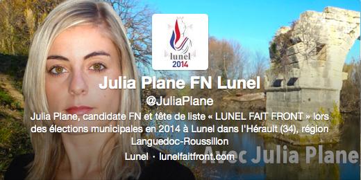Twitter Lunel 2014 avec Julia Plane FN RBM